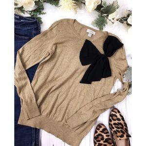 • LOFT • Tan Sweater Black Bow Detail